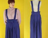 Vintage 80s Suspender Skirt - Dark Purple Skirt - Pleated Jumper Skirt - High Waisted Midi Skirt - Paper Bag Overall Skirt - Size Large
