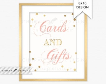 Card & Gifts Table Sign - Printed or Printable, Blush Pink Gold Wedding Bridal Shower Engagement Party Sweet 16 Birthday Baby Decor #p08