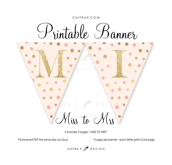 Miss to Mrs Banner - Printable, Bridal Shower Blush Pink ...