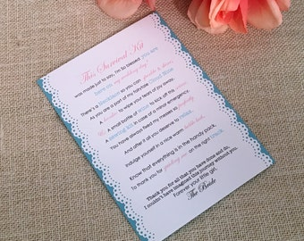 Mother of the Bride Survival Kit - 5x7 - Postcard - Hard Copy