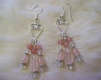 Rose Quartz Chandelier Earrings