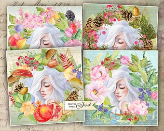 Four Seasons Coaster - 4 x 4 inch - set of 4 cards - digital collage sheet