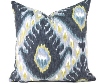 Pillow Covers ANY SIZE Decorative Pillow Cover Black Grey Pillow Robert Allen Bold Ikat Mineral