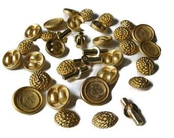 Vintage Buttons, Goldtone Heavy Metal Decorative Buttons
