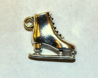 2 Silver 3D Ice Skate Charms/Pendants