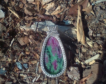 Ruby Zoisite Anyolite Silver Wire Wrapped Pendant