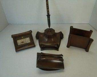 Five Piece Bronze Victorian Desk Set