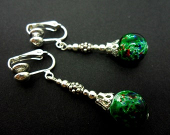 A pair of hand made long dangly green  marbled bead  clip on earrings. New.