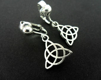 A pair of cute little tibetan silver celtic knot dangly clip on earrings. new.