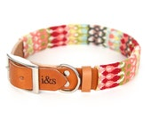 Leather Dog Collar with Textile Sleeve // Modern Pink // Optional ID Tag