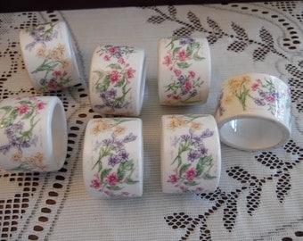 7 Floral Ceramic Napkin Rings