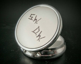 Winchester Brothers - Winchester Initials- Supernatural - Occult Accessory - Hand Painted Pillbox - Hand Painted Compact Mirror
