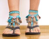 Tribal tassel beaded BAREFOOT sandles, barefoot sandal, belly dancing footwear, beach BOHO party foot jewelry, foot thongs, bottomless shoes
