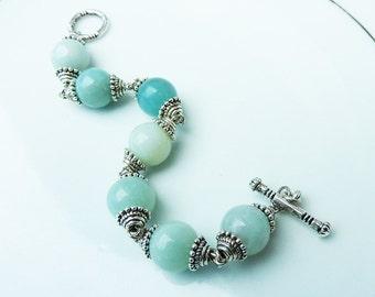 Opague Pale Blue Amazonite Bracelet