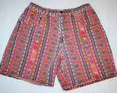 Vintage Southwest Print Denim Republic High Waisted Shorts - Size 15/16 - Made in USA