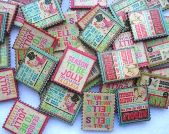 25mm x 29mm Stamp Shape Wood Embellishments Pack of 15 Mixed Christmas Shapes CR36