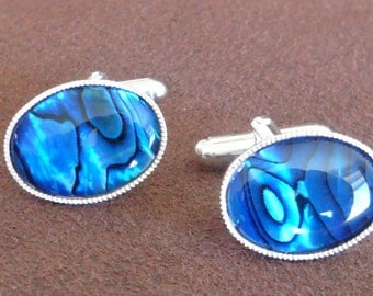 Abalone Blue Cufflinks Silver Plated.Oval 18 x13 mm. Gift for Him.Wedding,Fashion Cufflinks.17th Shell Anniversary