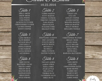 Rustic Wedding Seating Chart - Custom Sizes - Digital - Additional Options Available
