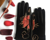 Black&Red Leather Gloves - Hand painted - SIZE 7.5 - ready to ship - autumn - winter - red - black - leather palm gloves - copper