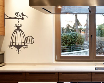 Opened Birdcage with Bird Vinyl Wall Decal for living room, nursery, kitchen, bedroom + more K632