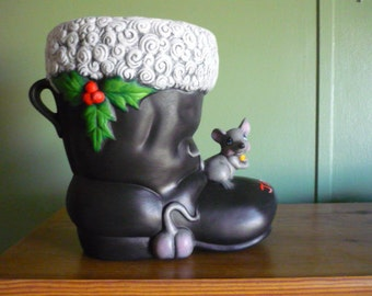 Ready to Paint Lg. Santa Boot with Mice