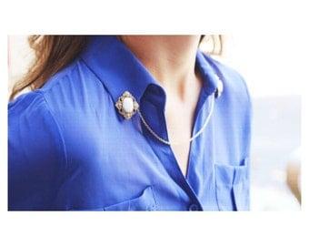 Sweater Guard Cardigan Clip Collar Clip Vintage Inspired Retro Jewelry - Carla Gold