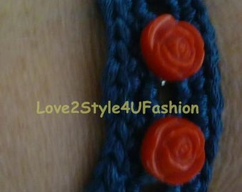 Crochet Statement Bracelet - Statement Bracelet - Blue Metallic Bracelet - Red Rose Appliques - Crochet Jewelry - Mix Media Jewelry - Chain