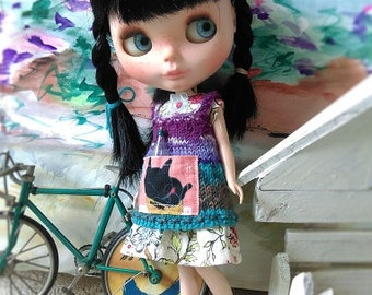 SALE Knitting vest dress variegated cololr with a cat print fabric pocket
