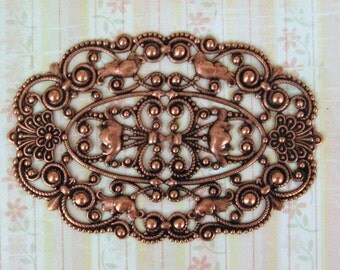 """Grand Oval Filigree  Oxidized Copper Plated Brass (1)   Ornate Detail  - Exquisite Piece, Brass Stamping 75mm, 3""""Tall -"""