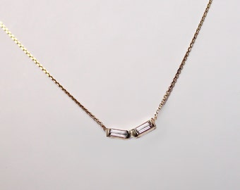 Delicate 14k Gold Diamond Baguette V Necklace