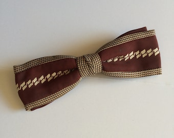 Vintage Brown Clip On Bowtie