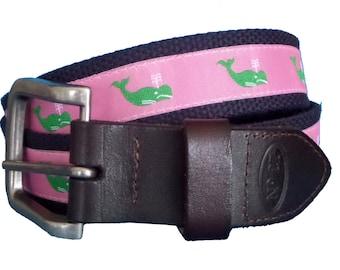 Green Whale Nautical Belt / Leather Belt / Canvas Belt / Preppy Webbing Belt for Men, Women and Children/Green Whale Ribbon on Pink
