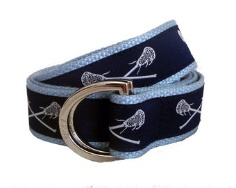 Lacrosse Belt / D-Ring Belt / Canvas Belt / Preppy Webbing Belt for Men, Women and Children/Navy Blue Lacrosse