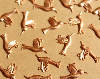 6 pc. Raw Copper Hummingbird Charms: 18mm by 10mm - made in USA | RB-817