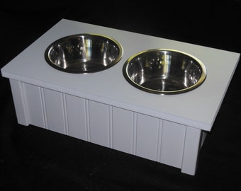 Dog Bowls, Raised Pet Feeder, Custom Made and Hand Built in the USA. Helps Prevent Gastric Bloating Which Can Be Dangerous to Your Dog.
