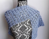 Lacy Crochet Shawl Wrap Periwinkle Blue with Tiny Sequins