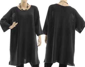 Dark grey merino wool sweater, oversized dark grey knitted sweater, grey merino lagenlook sweater for plus size women XL-XXL, US size 18-24
