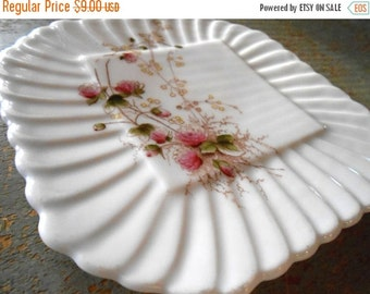 ON SALE Vintage Plate, Carlsbad China, Knox, Floral, Pink, Blossoms, Austria, Square Plate, Cake Plate