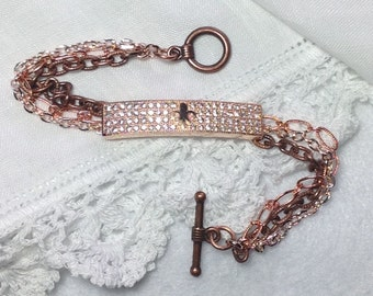 Rose Gold Fleur de Lis France CZ Rhinestone Crystal Assemblage Bar Bracelet Multi Chain 2-Tone One-of-A-Kind Handmade WishAnWearJewelry