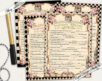 Alice in wonderland Nursery rhyme baby shower game. Nursery rhyme baby shower. Nursery rhyme quiz. Nursery rhyme cards.