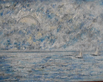 Original Oil Painting-Seascape-Sailing-AffordableArt-Impressionist-Smallworks-Gift Idea-Miini painting