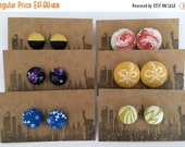 45% OFF SALE Fabric Covered Button Earrings / 6 Pairs / Vintage Inspired / Slightly Imperfect / Wholesale Jewelry / Gifts for Her / Stud Ear