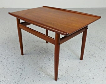 mid century Danish modern teak Grete Jalk winged side end table