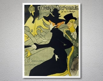 """Poster Advertising """"Le Divan Japonais"""", 1892  by Henri de Toulouse Lautrec - Poster Paper, Sticker or Canvas Print"""