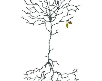 Neuron 3, Neurons, Neuron art, watercolor neuron, neuroscience, biology art, science gifts, teacher gifts, neuron tree, science art