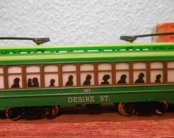 Vintage Toy trolley car, Vintage cable car, Toy street car, Vintage toy car, Desire St. trolley car, Street Car Named Desire
