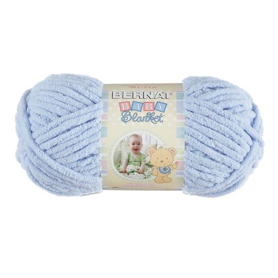 Knit Baby Blanket Pattern Super Bulky Yarn : Bernat Baby Blanket Yarn in Baby Boy Blue