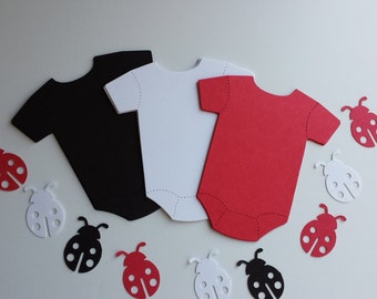 Paper Baby Onesie Cut-Out- and ladybug die cuts confetti- Scrapbooking Embellishments -Baby Shower- Gift Tags