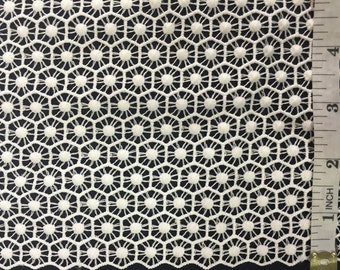 "Item: A1103N0, By the Yard, Modern Style Guipure Venice Lace Fabric, Honeycomb-like Embroidery, 42"" Wide"