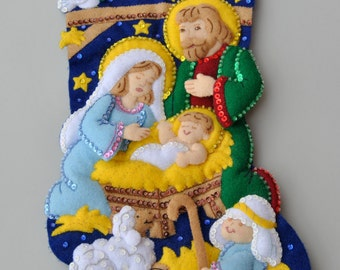Personalized Nativity Stocking ~ Christmas ~ Felt ~ Sequins ~ Glass Beads ~ Three Dimensional
